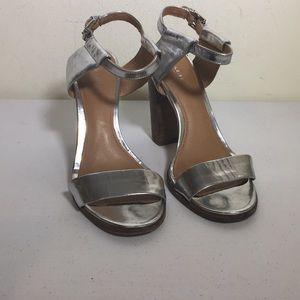 Coach metallic silver ankle heels  sandals size 9B